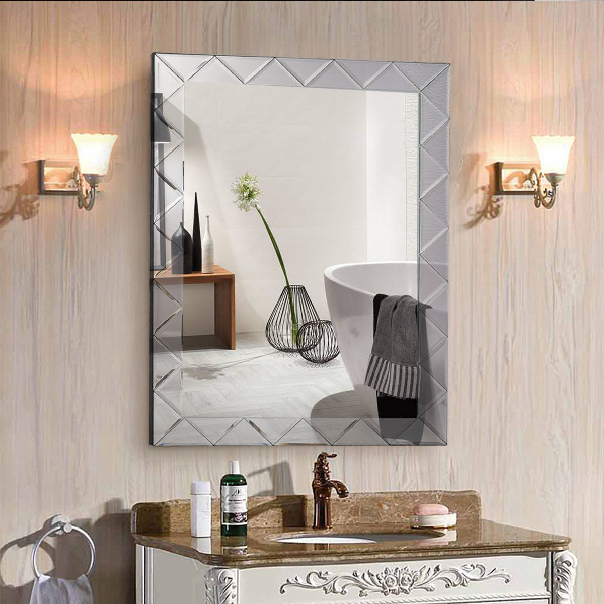 Costway 21.5'' x 30.5'' Rectangle Wall Mirror Frame Angled Beveled Glass Panel Bathroom
