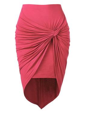 MBJ WB936 Womens Draped Wrap Style High Low Midi Skirt S TEAL