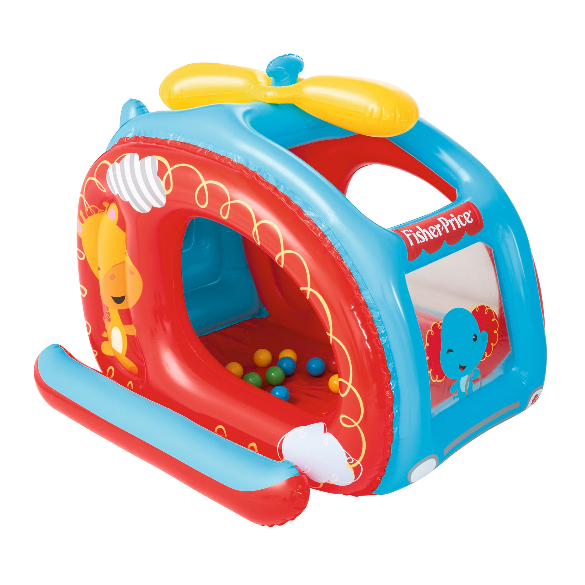 "Fisher Price 54"" x 44"" Inflatable Helicopter Vinyl Kids Play Ball Pit w  Balls by Fisher-Price"