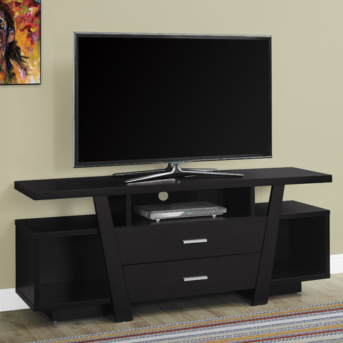 """Monarch Tv Stand Cappuccino With 2 Storage Drawers For TVs Up To 60""""L"""
