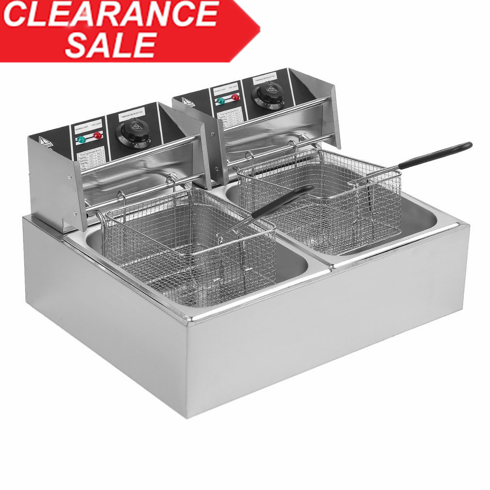 20L 5KW Countertop Stainless Steel Double Container Tank Durable Commercial Restaurant Electric Deep Fryer US Plug