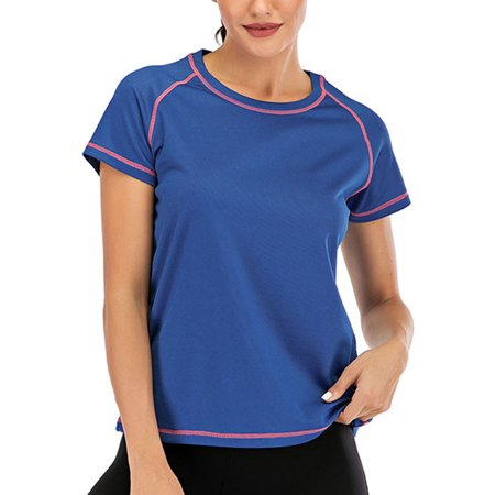 DODOING Athletic Yoga Tops Workout Running T Shirts Fitness Athletic Yoga Tops Exercise Gym Shirts for Women