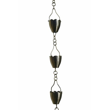 Weathered Patina Chain - Patina Products Brushed Stainless Flower Cup Rain Chain