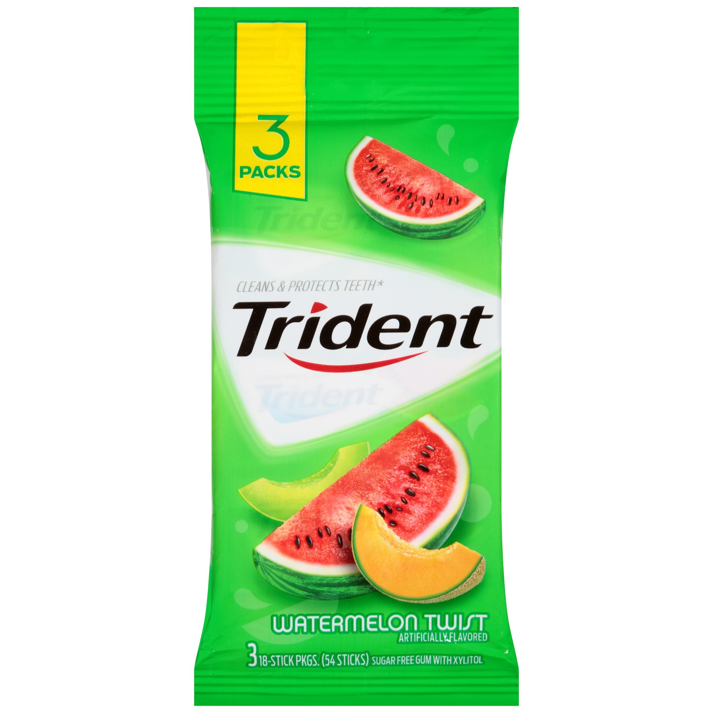 Mondelez Global LLC Cadbury Adams Usa Llc Trident Watermelon Twist Sugar Free Gum With Xylitol 3 - 18 Stick Packs