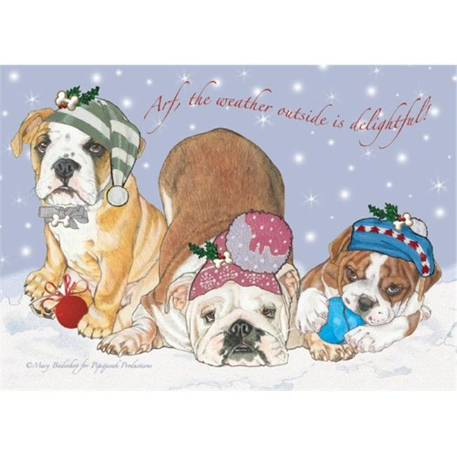 Pipsqueak Productions C536 Holiday Boxed Cards- Bull Dog