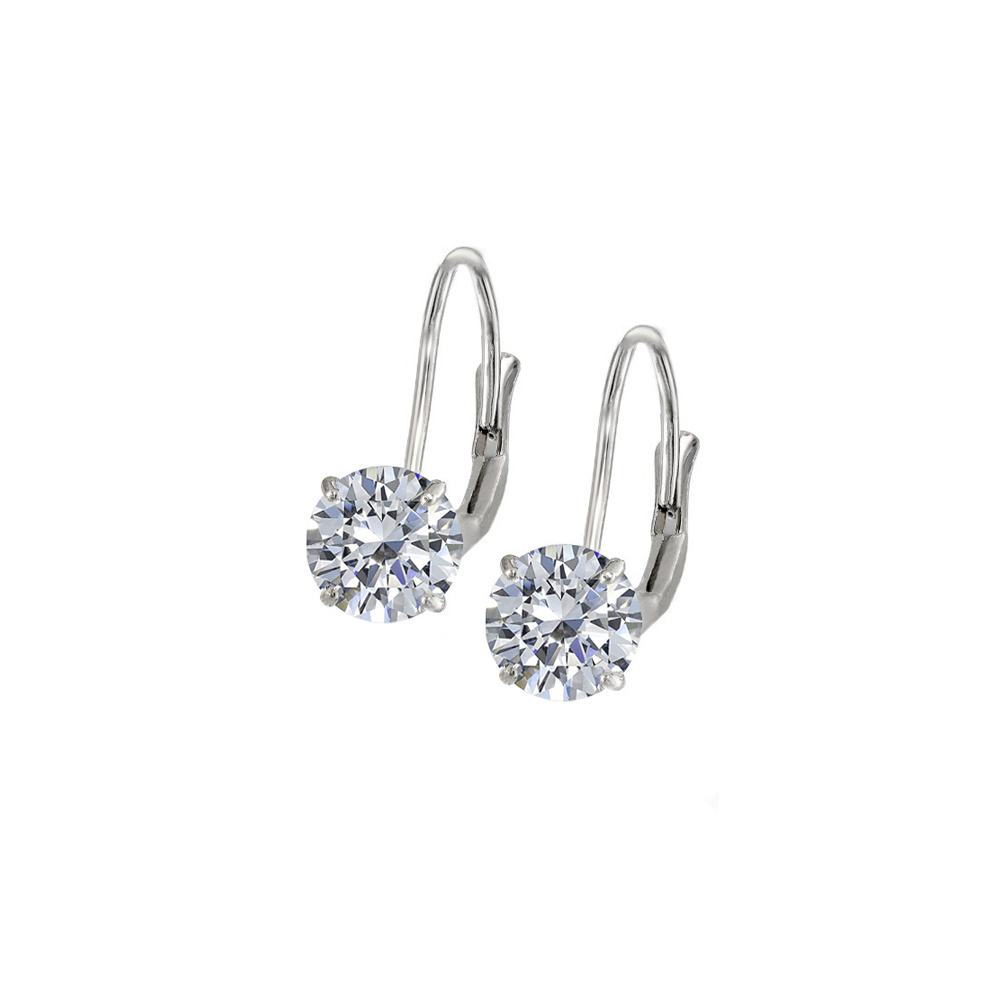 Leverback Earrings in 14K White Gold with CZ Gemstone 3.00 CT TGWPerfect Jewelry Gift for Women - image 2 of 2