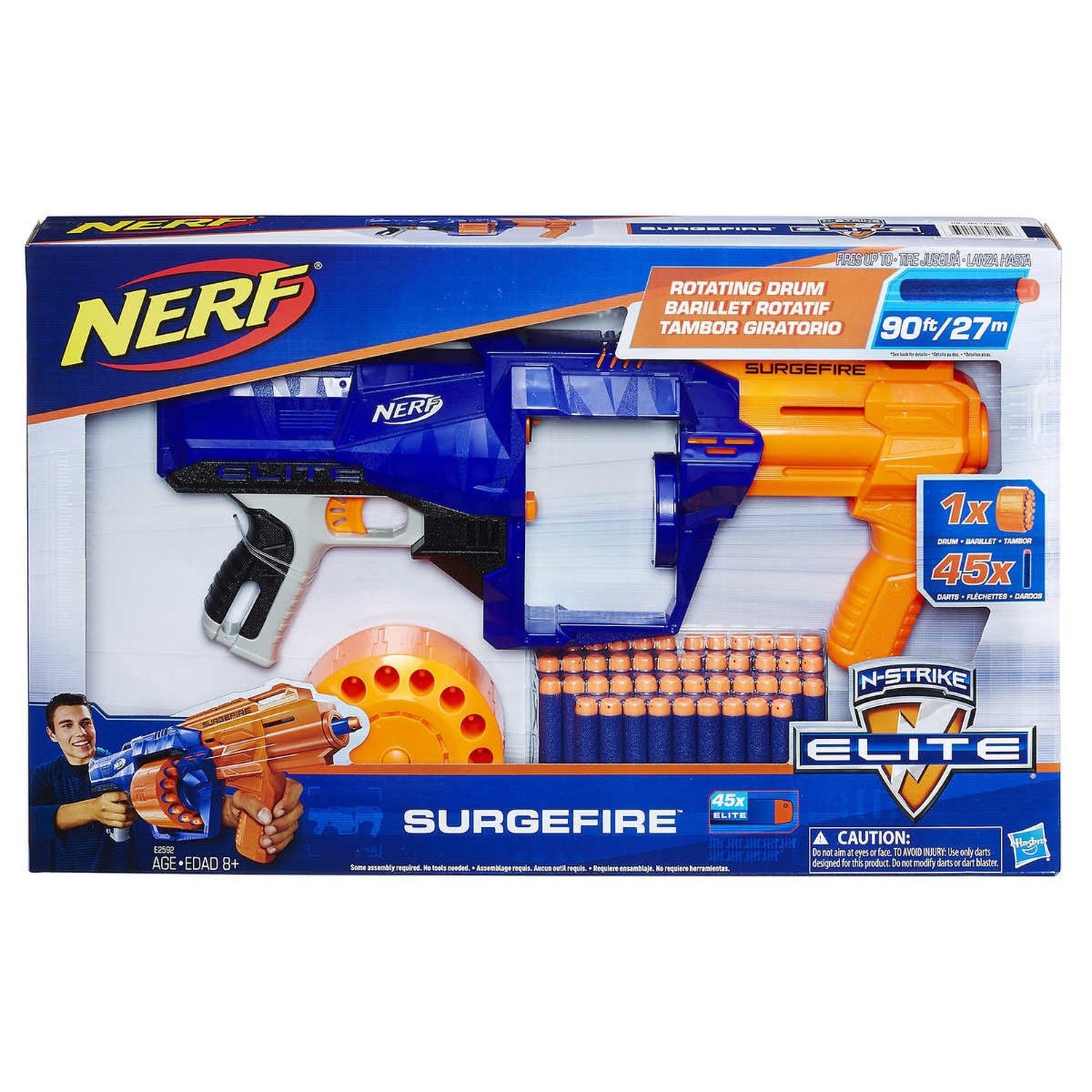 Nerf Surgefire Mega Pack Includes 45 Elite darts 15-dart rotating drum