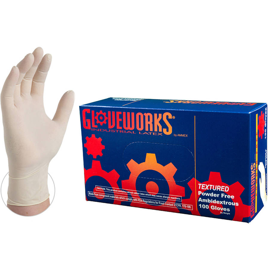 Gloveworks Ivory Latex Industrial Disposable Gloves, X-Small by AMMEX