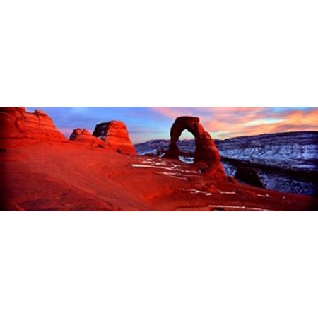 Natural arch in a desert Delicate Arch Arches National Park Utah USA Poster