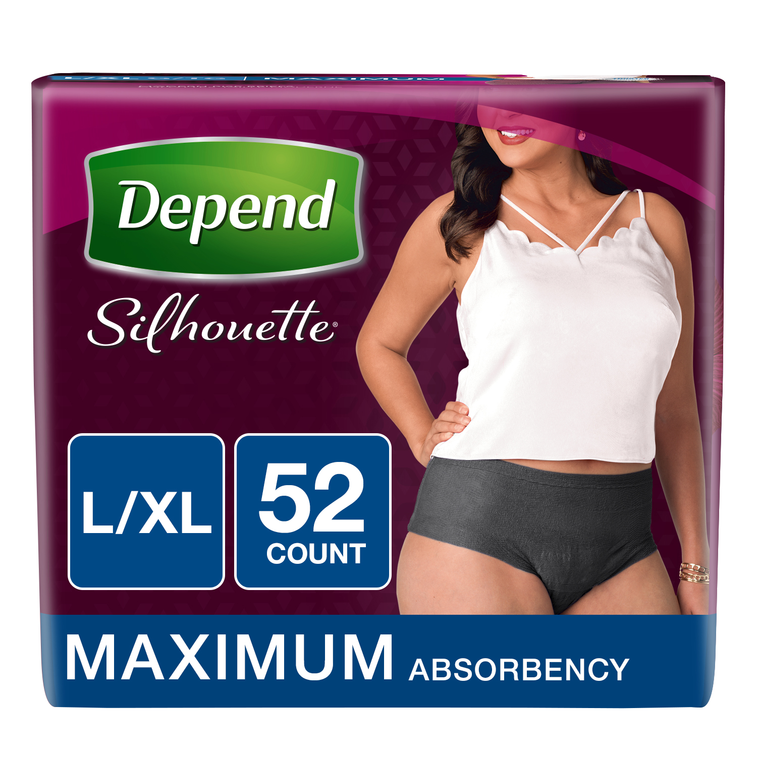 Depend Silhouette Incontinence Briefs for Women, Maximum Absorbency, L/XL, Black, 52 count