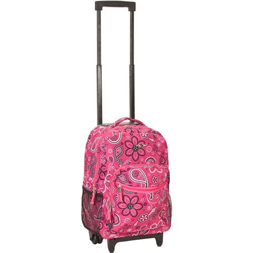 """Rockland Luggage Roadster 17"""" Rolling Backpack, Bandana"""