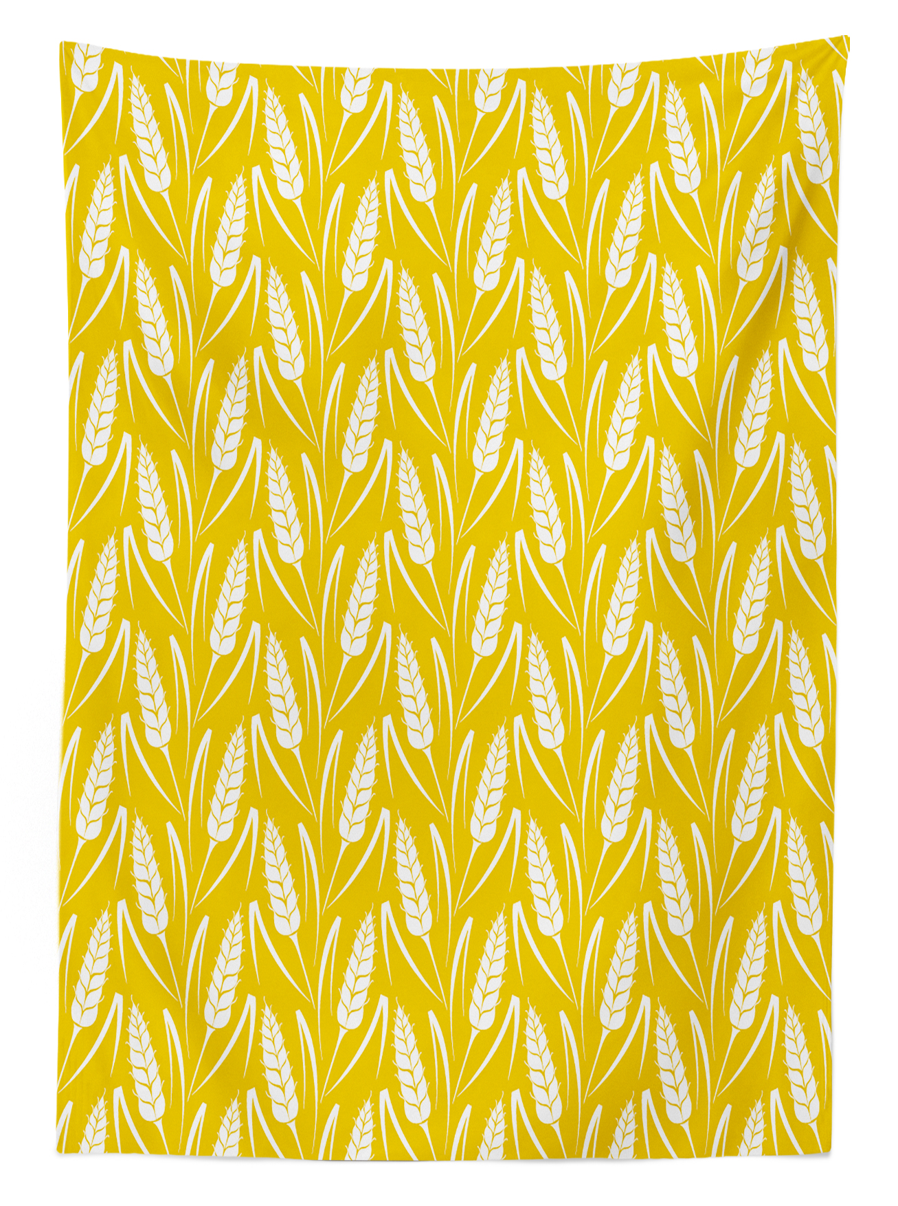 Yellow And White Tablecloth, Growing Rye Field Silhouettes Of Wheat Ears  Whole Grain Natural,