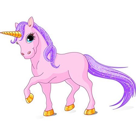 Beautiful Pink Unicorn Edible Cake Image Topper