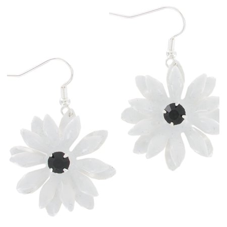White Enamel Flower Black Rhinestone Center Dangle Pierced Earrings 1 3/4