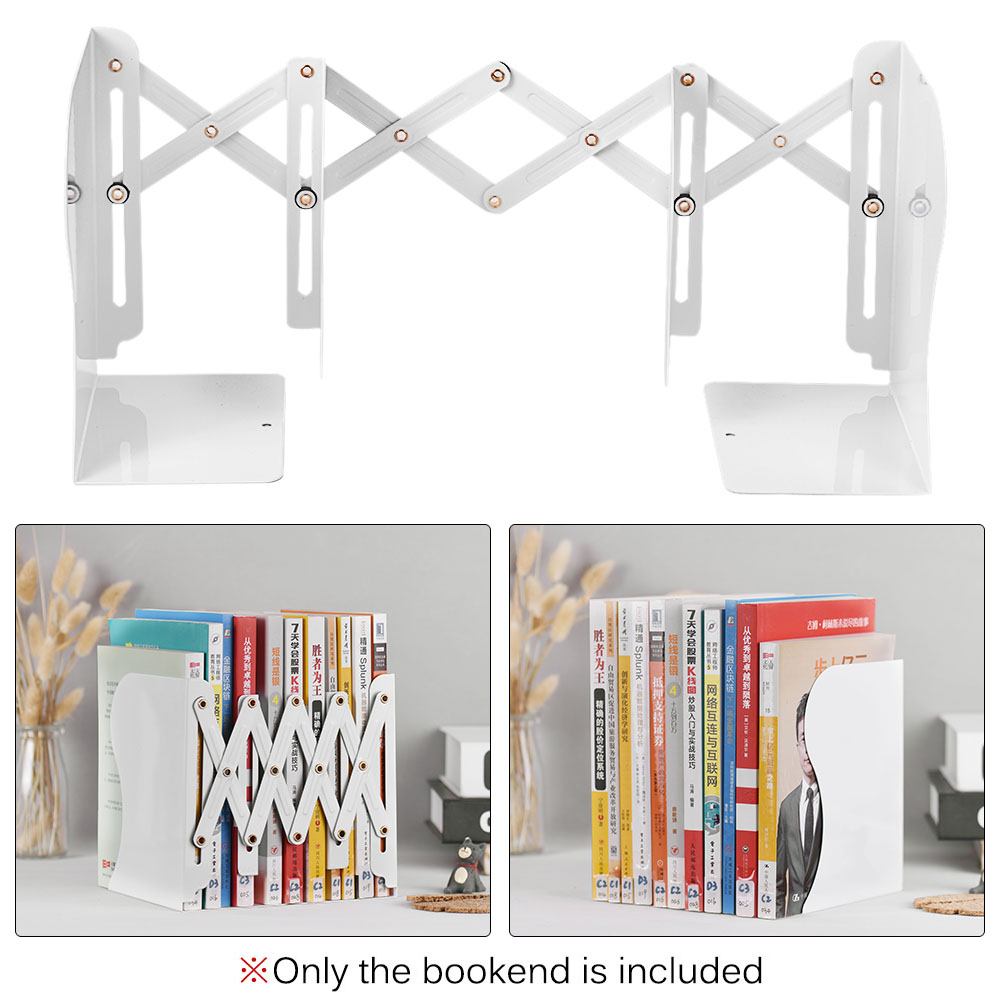 Black x Gorse Black Decorative Bookends Heavy Duty Adjustable Books Holder Stand Desk Nonskid Bookend Metal