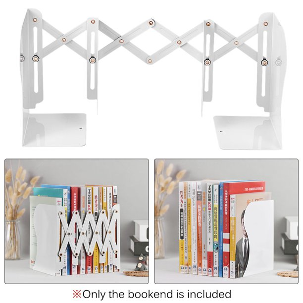 Retractable Bookends Metal Book Ends Decorative Binder Holder Organizer Extends Up To 19 69 Inch Width Adjustable Desktop Bookshelf For School Office Home White Walmart Com Walmart Com