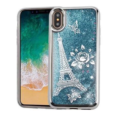 iPhone X Case Glitter, iPhone X Case, iPhone 10 Case, by Insten Quicksand Glitter Eiffel Tower Dual Layer [Shock Absorbing] Hybrid Chrome Hard Snap-in Case Cover For Apple iPhone X 2017, Silver/Blue