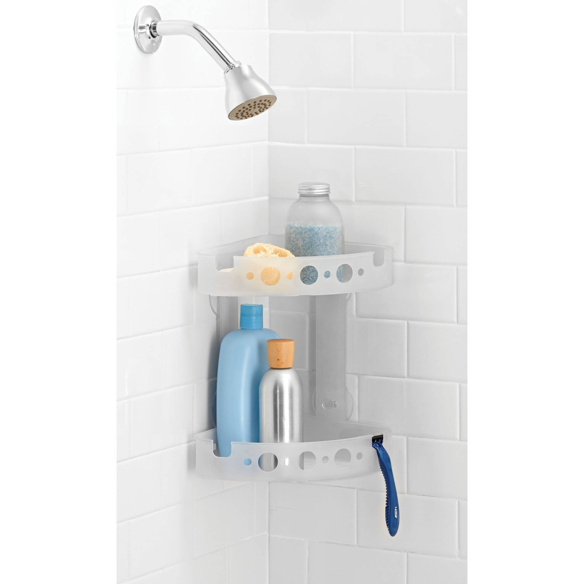Mainstays Corner Shower Caddy, Frosted - Walmart.com