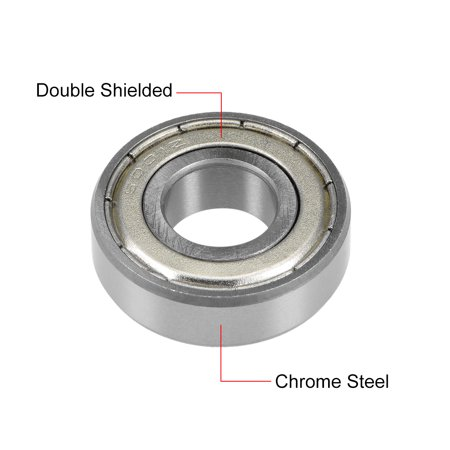 6001ZZ Deep Groove Ball Bearing 12x28x8mm Double Shielded Chrome Bearings 10pcs - image 1 of 4