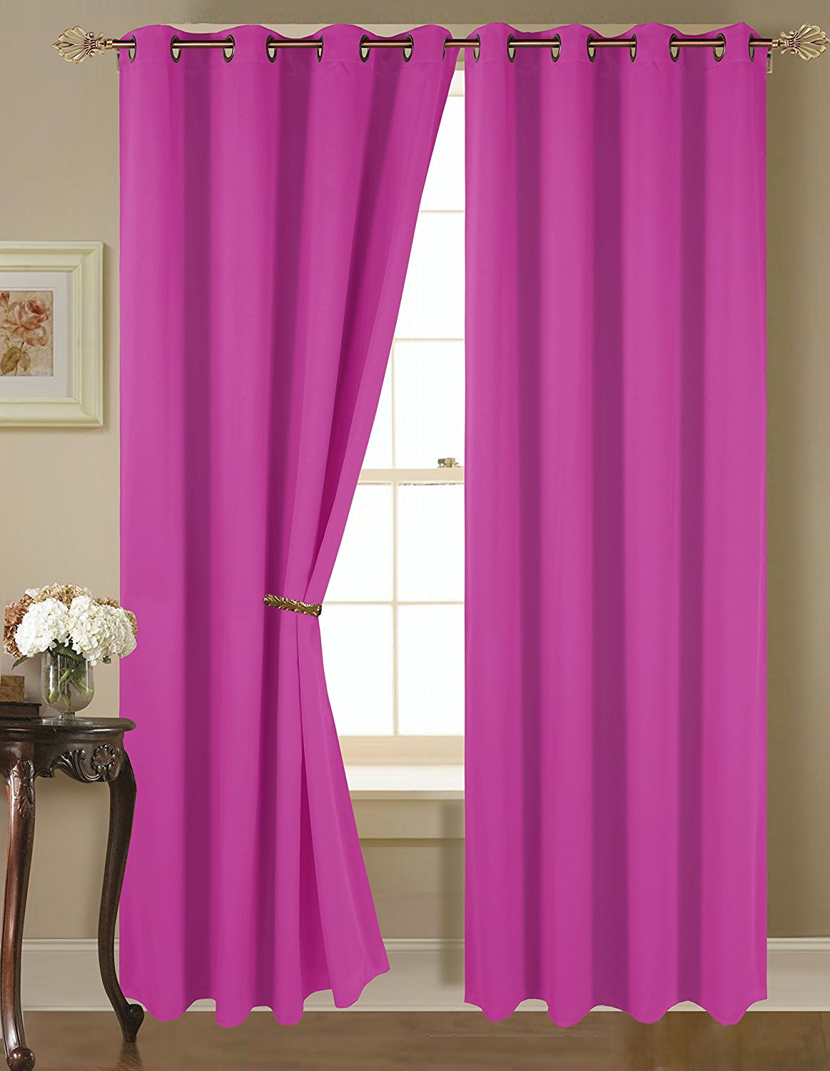 Empire Amber Solid Thermal Blackout Grommet Window Curtain Panel Set Of Two 2 63 X 54 Inch Hot Pink Walmart Com Walmart Com