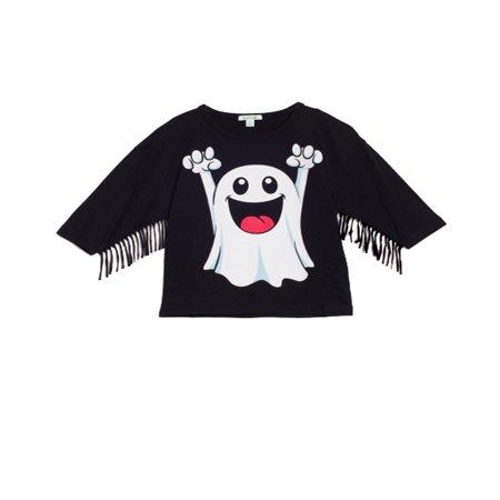 bossini Festival Kids Girls Ghost 3/4 Sleeve Tassel Easygoing Tee Jersey Shirt - Black,Size 100,US Size 4T
