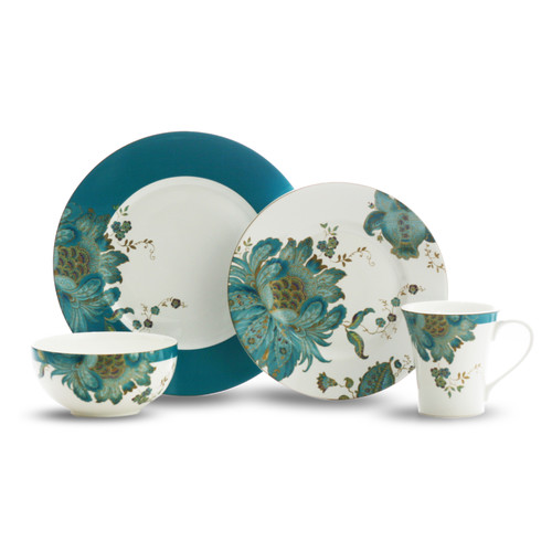 222 Fifth Eliza Teal 16 Piece Dinnerware Set, Service for 4 by