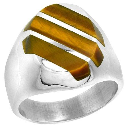Oval Tiger - Sterling Silver Tiger Eye Ring for Men Large Oval 3 Stripe Diagonal Solid Back Handmade, sizes 9 - 13