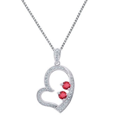 Sterling Silver 925 Heart Forever Us Pendant 2 Solitaire Red Cz Free Necklace Ladies