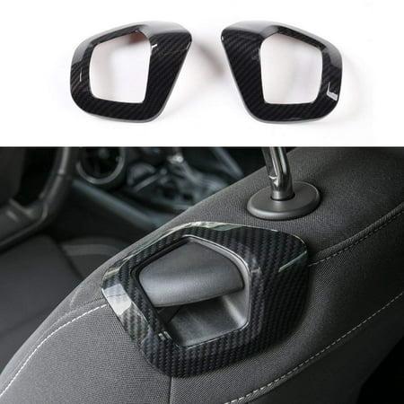 Carbon Fiber Grain ABS Car Seat Back Manual Adjust Control Handle Cover Trim Frame For Chevrolet Camaro 2017+