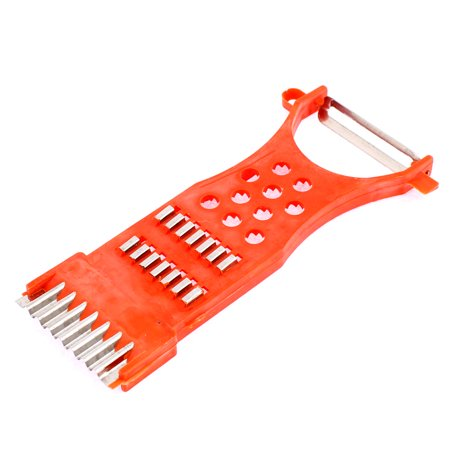 Housewife Plastic Multi-Purpose Potato Carrot Radish Grater Peeler Orange Red - image 3 de 3