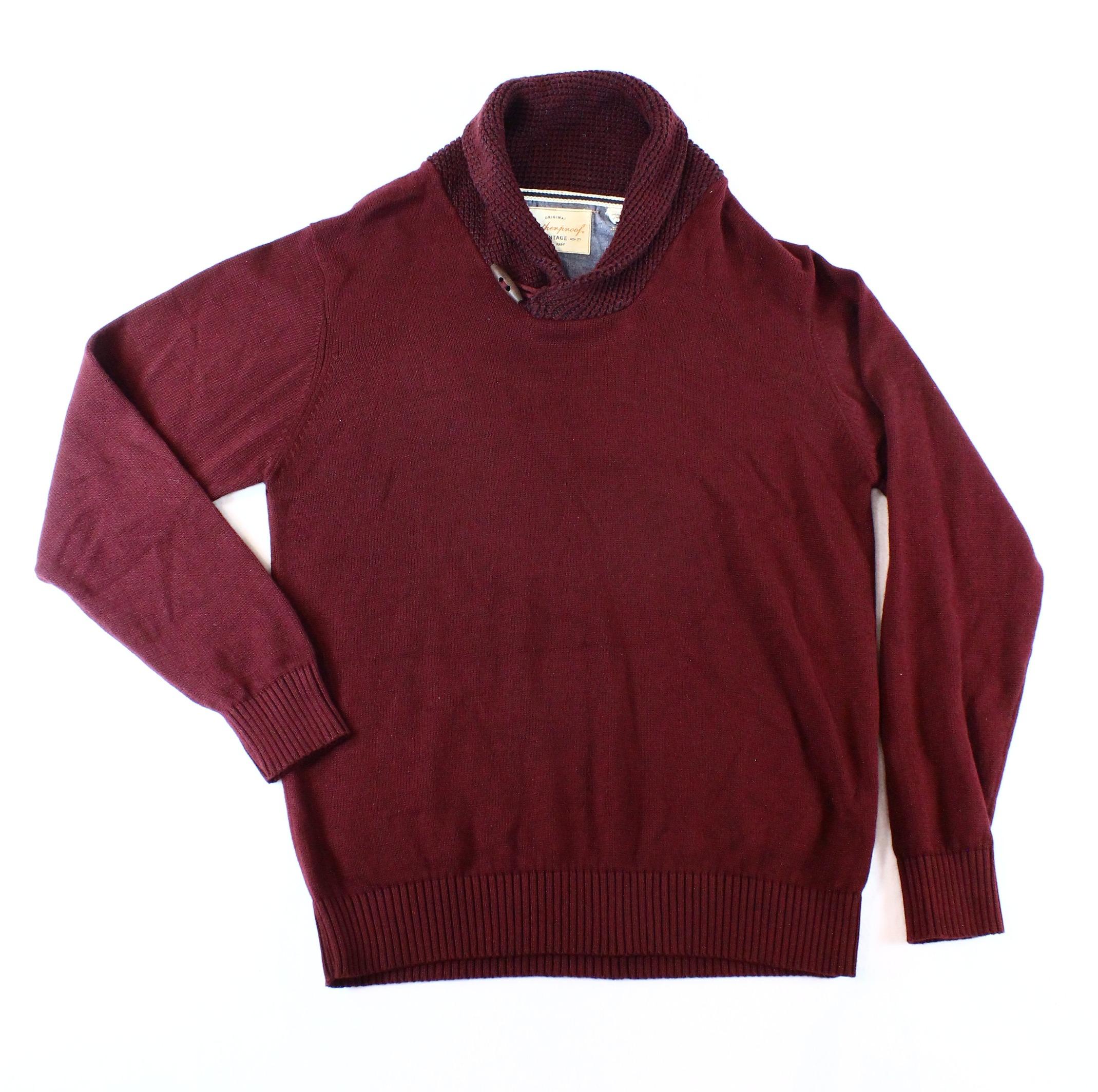 Weatherproof NEW Red Burgundy Mens Size 2XL Shawl-Collar Waffle-Knit Sweater