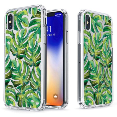 - iPhone X Case - True Color Clear-Shield Tropical Monstera Leaves Printed on Clear Back - Soft and Hard Thin Shock Absorbing Dustproof Full Protection Bumper Cover