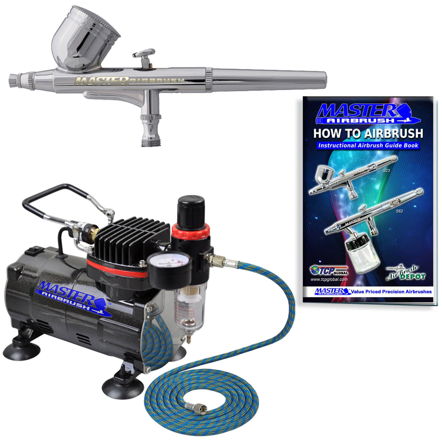 Professional Master Airbrush Multi-Purpose Gravity Feed Airbrushing System Kit - Gravity Feed Dual-Action Airbrush