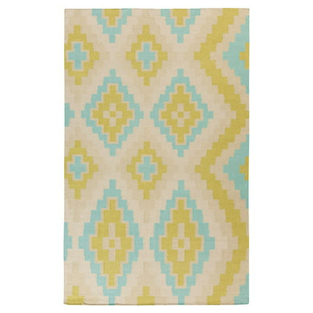Beth Lacefield for Surya Alameda Antique Handwoven Flatweave Wool White/Lime Area Rug ()