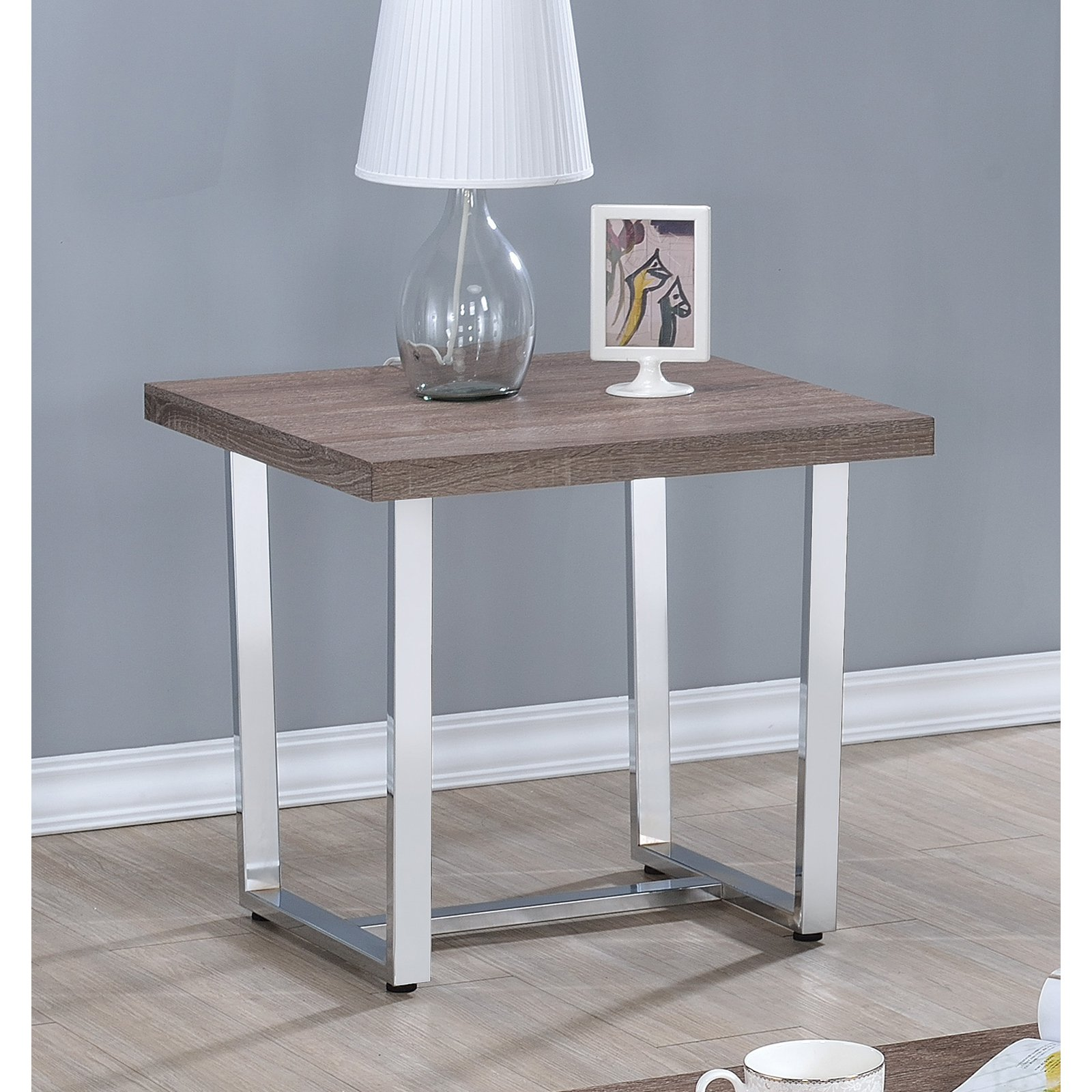 Coaster End Table, Weathered Taupe Finish