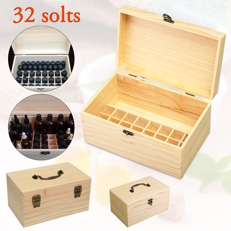 32 Slots Aromas Essential Oils Bottles Christmas Gift Perfume Storage Box Case Organizer Wooden With Handle - Luxury Wooden Gift Box