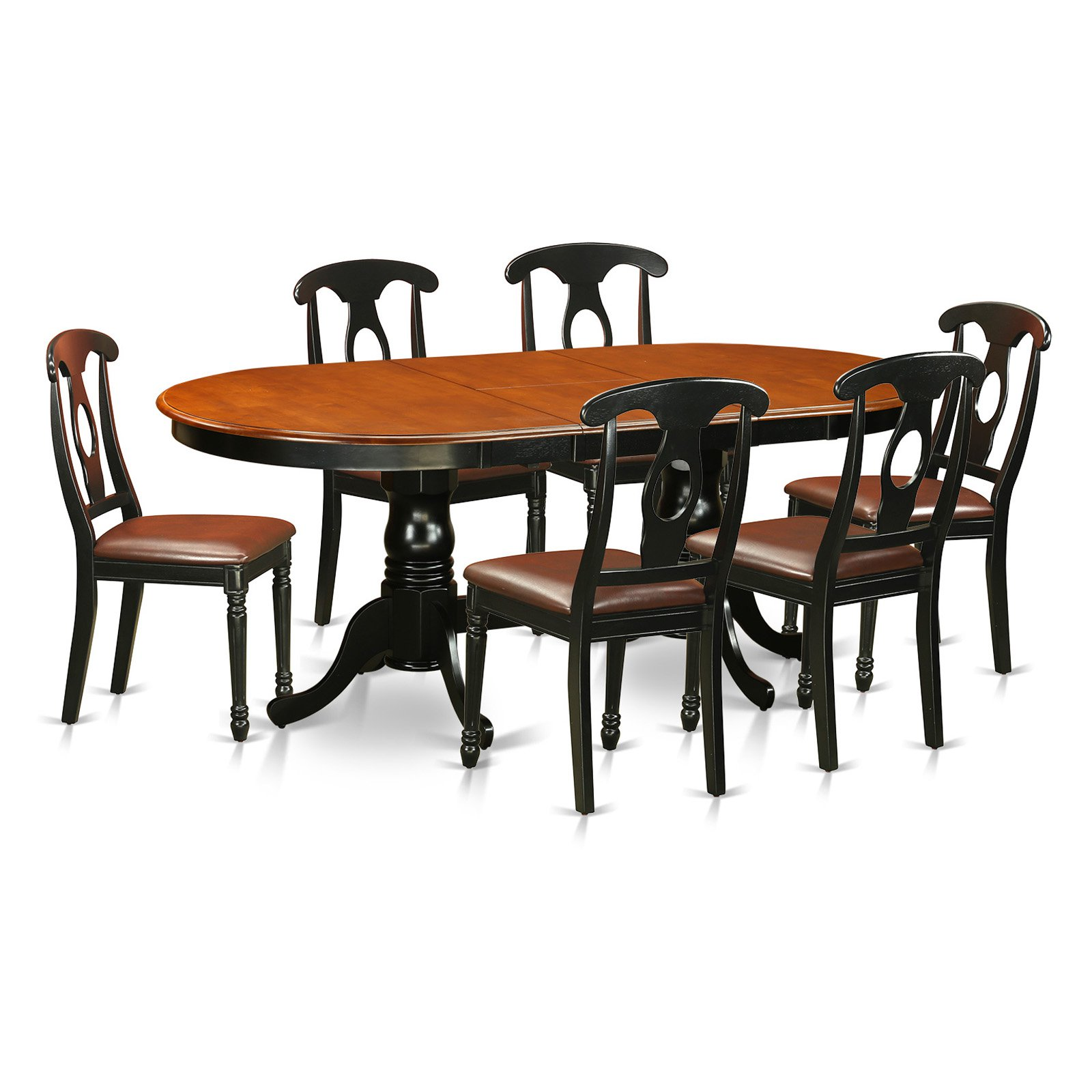 East West Furniture Plainville 7 Piece Keyhole Dining Table Set