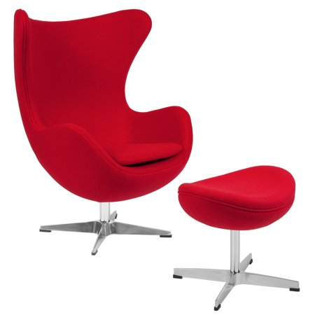 Flash Furniture Red Wool Fabric Egg Chair With Tilt Lock Mechanism And Ottoman