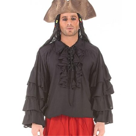 The Pirate Dressing C1084 Henry Morgan Shirt, Black - 2XL - Morgan Halloween