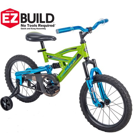 "Huffy 16"" DS 1600 Kids EZ Build Dual Suspension Bike for Boys, Green"