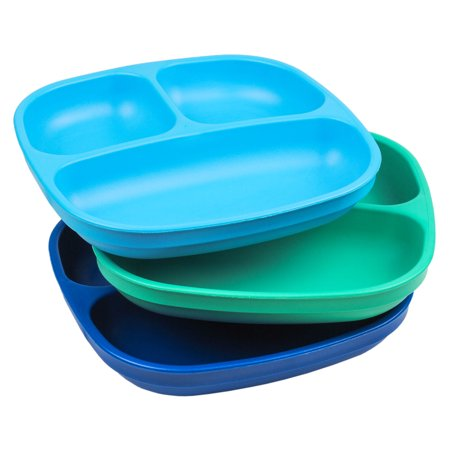 Re-Play Made in USA 3pk Toddler Feeding Divided Plates with Deep Sides for Easy Baby, Toddler, and Child Feeding - Sky Blue, Aqua & Navy Blue (True Blue) Durable, Dependable - Princess Plates And Cups