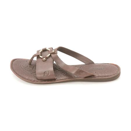 BOC Womens Kallan Leather Open Toe Casual Slide Sandals Silver Size 60