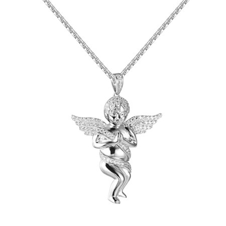 Praying angel pendant sterling silver white gold finish lab created praying angel pendant sterling silver white gold finish lab created cubic zirconias 24 inch chain aloadofball Image collections
