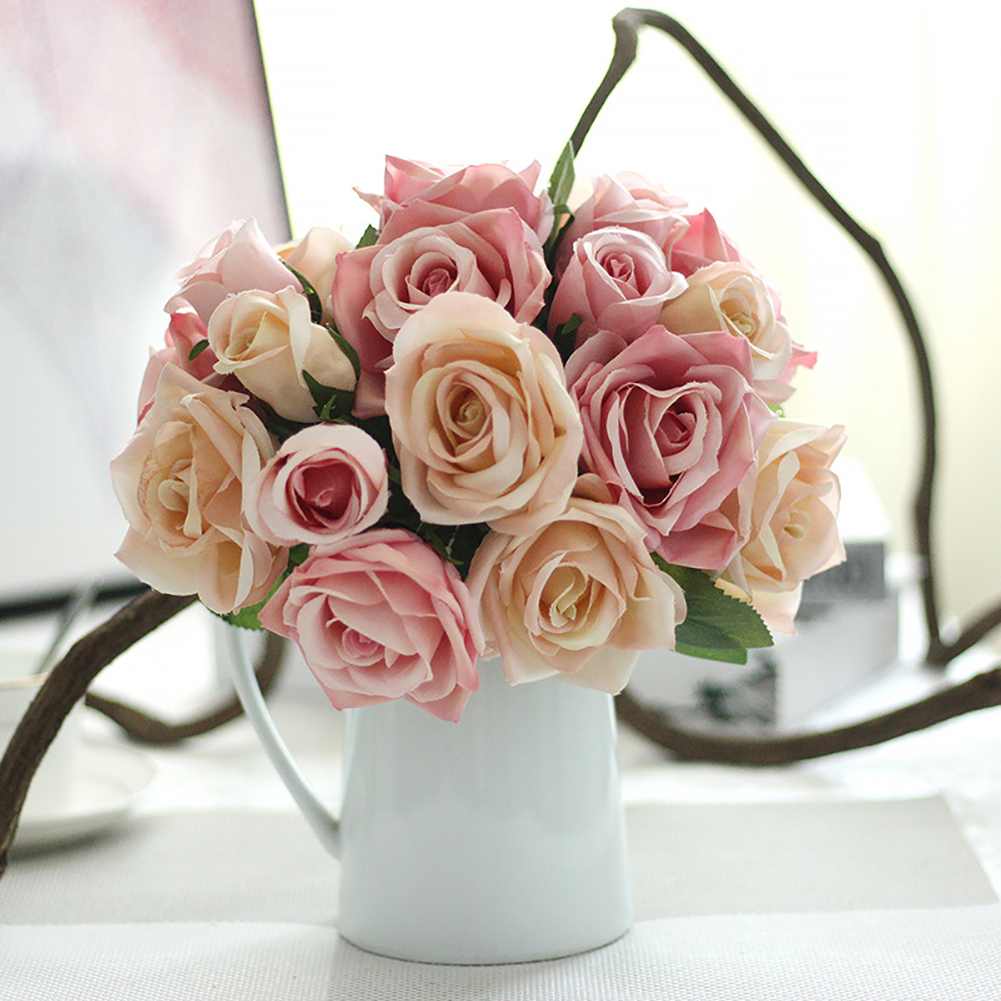 Directer 1 Bouquet 9 Heads Artificial Rose Wedding Party Bride Bouquet Home Decor Flower