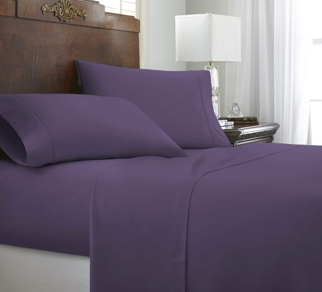 Becky Cameron Ultra Soft Hotel Quality 4 Piece Chevron Bed Sheet Set - Twin - Purple