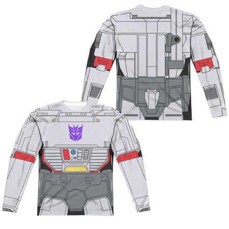 Trevco Sportswear HBRO132FB-ALPP-6 Transformers & Megatron Costume Front & Back Print - Long Sleeve Adult Poly Crew T-Shirt, White -