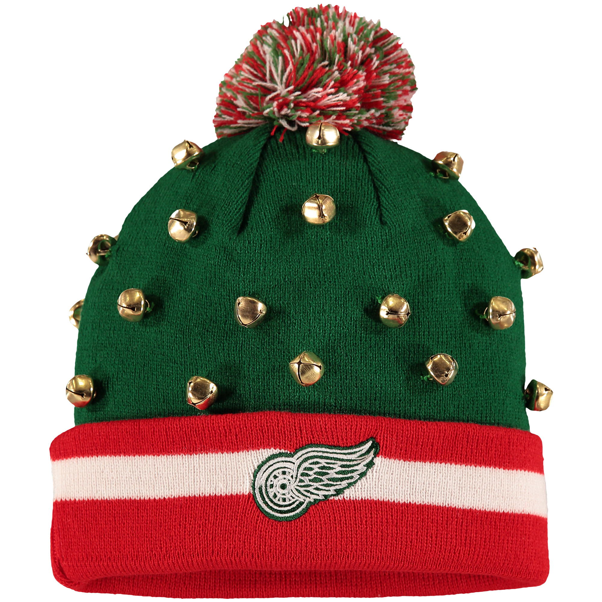 Detroit Red Wings Old Time Hockey Jingles Cuffed Knit Hat - Green/Red - OSFA
