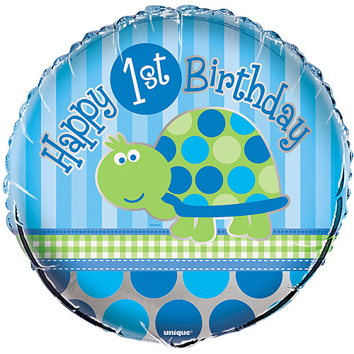 "18"" Foil First Birthday Turtle Balloon"