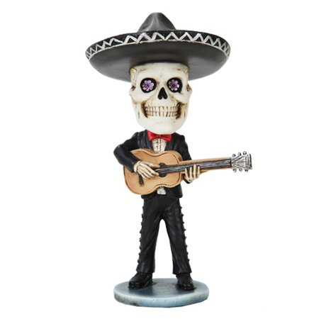 Skeleton Mariachi Guitar Player Day of the Dead Bobblehead Toy - Guitar Skeleton