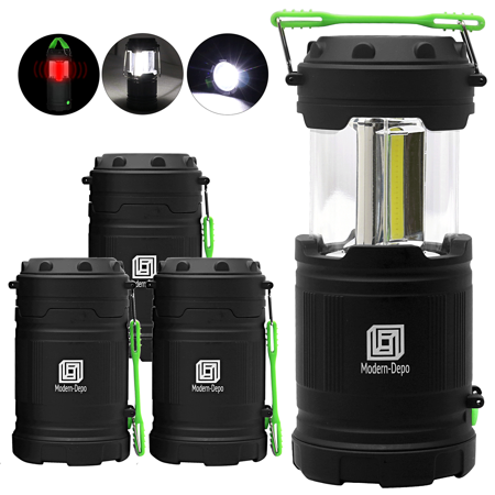 4-Pack Portable LED Camping Lantern with Flashlights 7 Modes | 300 Lumens COB Battery Powered with Fluorescent Handles for Hiking Emergencies Hurricanes Outages Storms Car repair - Light Lanterns